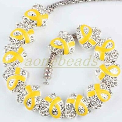 10Pcs Yellow Ribbon Crystal Austria Heart European Charm Beads Cancer AWARENESS