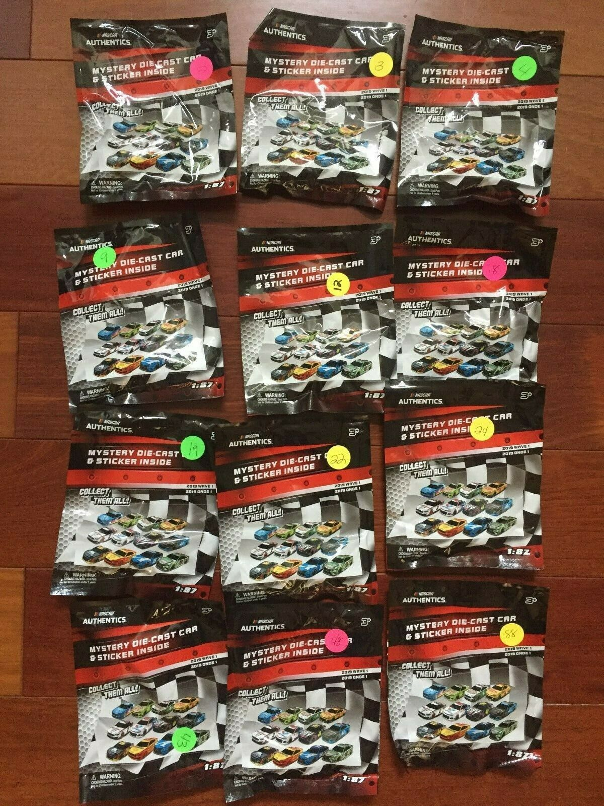 2019 Nascar Mystery Die-cast and Stickers 1 87,12 Autos Set, Wave 1, STILL SEALED