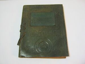 1915 University of Wisconsin Madison Commencement Antique Leather Book T*