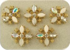 2 Hole Beads Flowers X Shape White with Clear Swarovski Crystal Elements QTY 5
