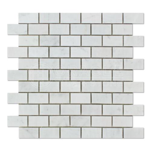 "Bianco Carrara Carrara White Italian Marble 1/"" X 2/"" Mosaic Tile"