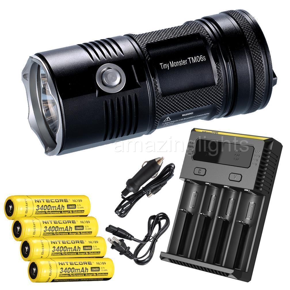 NiteCore TM06S 4000 Lumens LED Flashlight w  4 x 3400mAh 18650 & I4 Charger