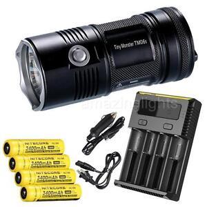 NiteCore-TM06S-4000-Lumens-LED-Flashlight-w-4-x-3400mAh-18650-amp-I4-Charger