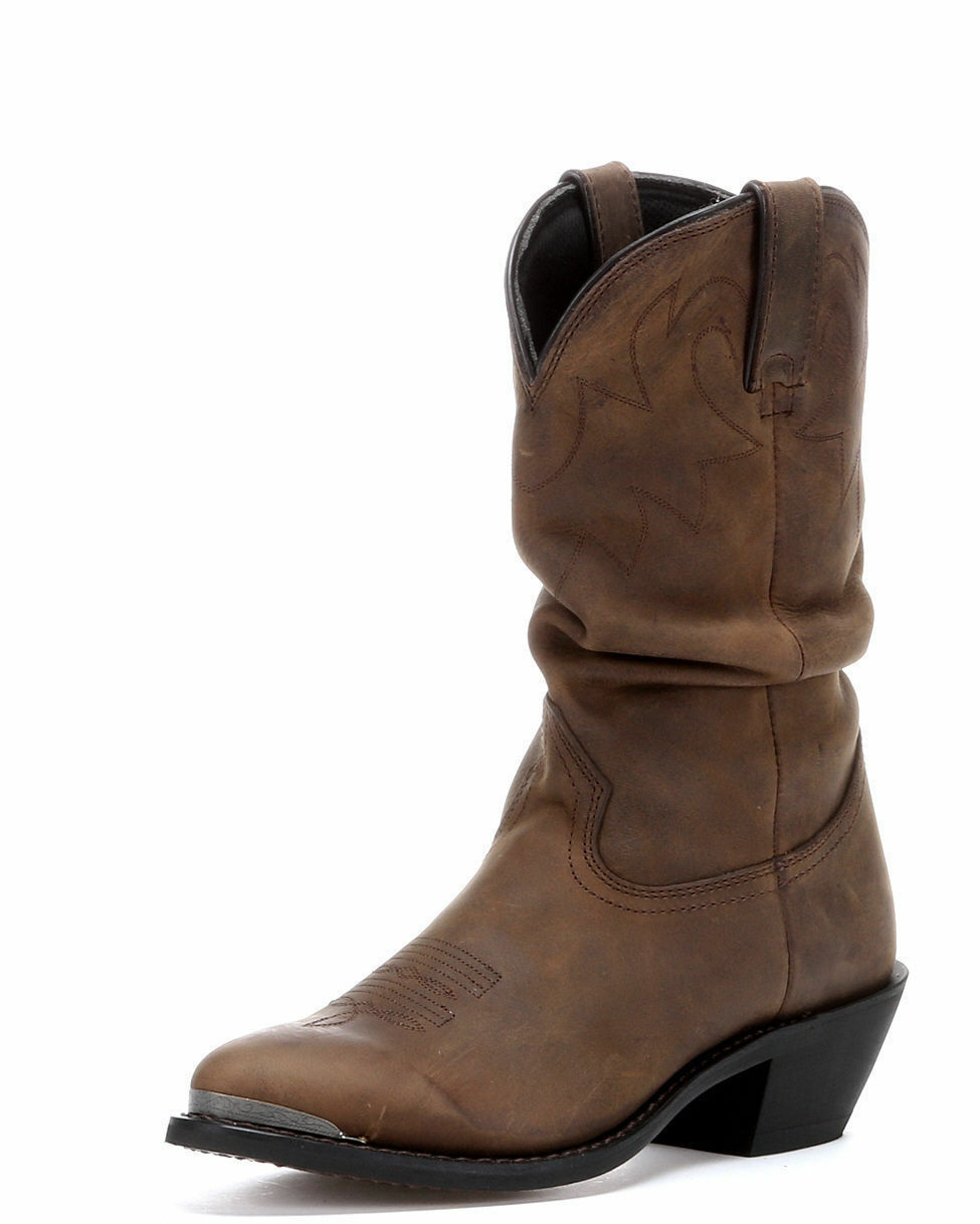 Damas Marrón Cuero Envejecido Durango Slouch Occidental botas RD542