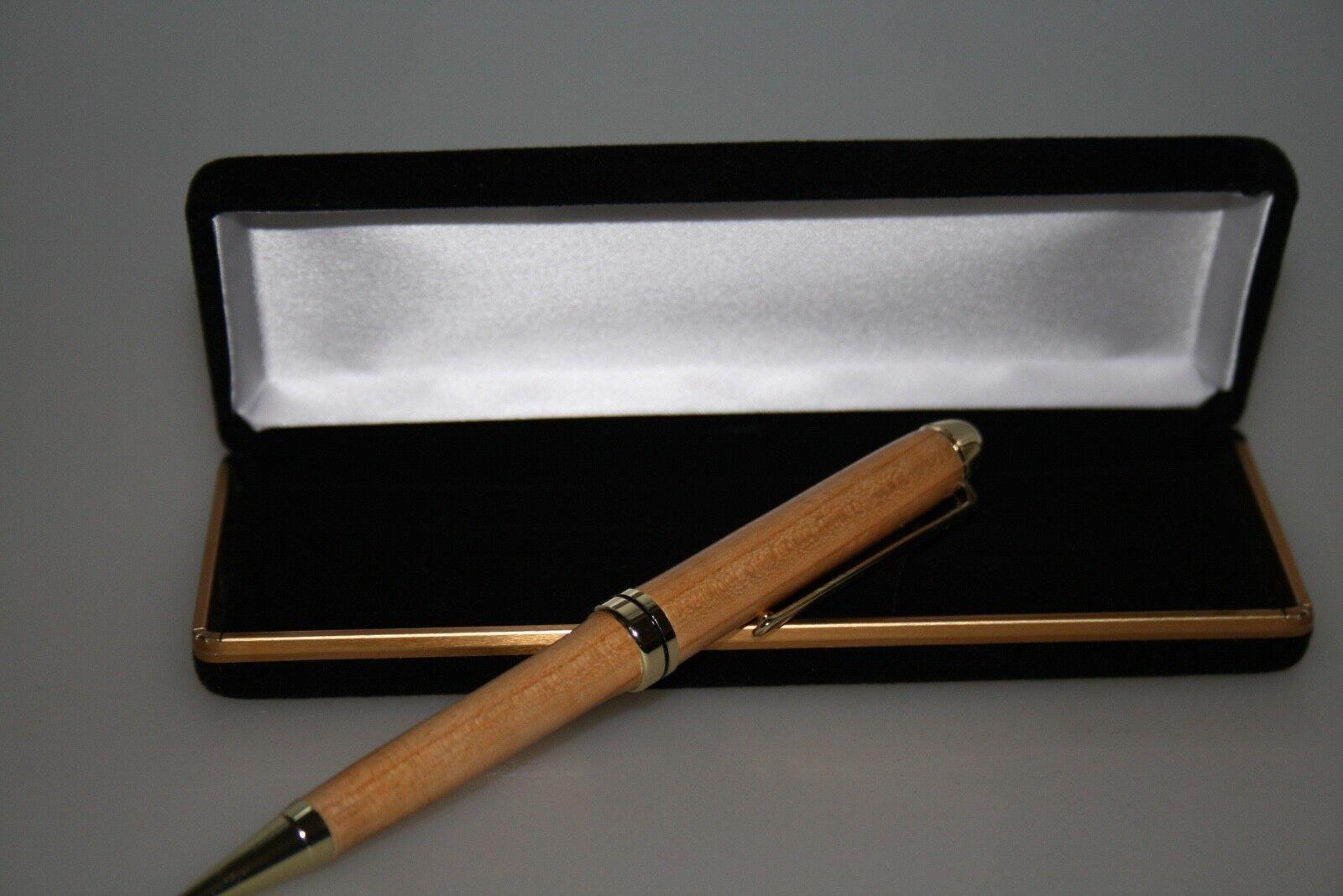 Kugelschreiber, handgedrechselt, hergestellt in D aus Wildkirsche 24kt verGoldet | Tragen-wider