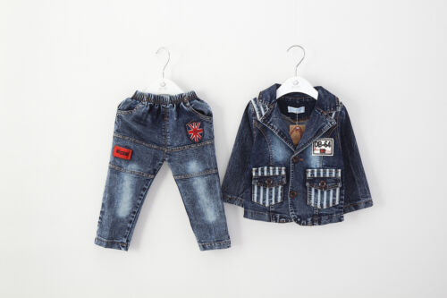 Toddler Boy 2pc Jean Style Outfit Jacket+Jean casual Gift Party Size 1-6 years