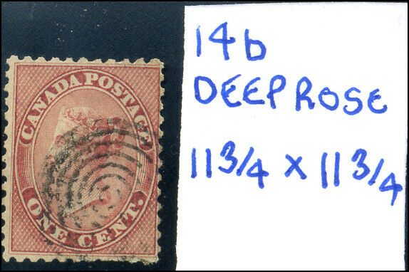 Canada #14b used F 1859 First Cents 1c deep rose variety Queen Victoria CV$70.00