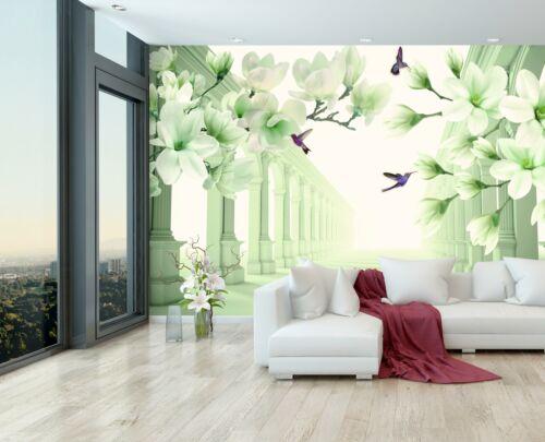 VLIES FOTOTAPETE grün Kolibri Blumen Korridor Glanz  Tapete XXL Vliestapete