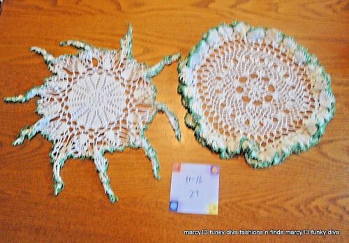 2 Pretty Different Vintage White & Green Hand Crocheted Cotton Doilies