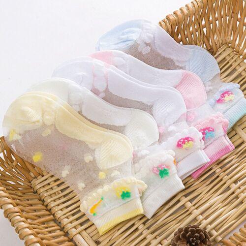 Crystal Chaussettes Bébé Filles Enfants Respirant Chaussettes Ultra-mince fruits imprimés