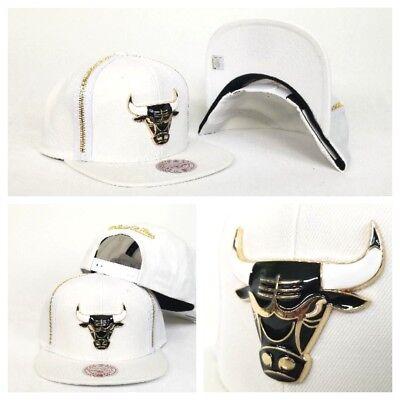 38dd4eba36d526 Mitchell & Ness Zipper White / Gold Metal Badge Chicago Bulls snapback Hat  Cap