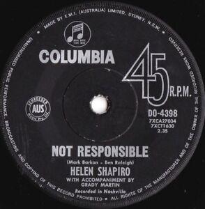 Helen-Shapiro-ORIG-OZ-45-Not-responsible-VG-63-Columbia-DO4398-Girl-group-Idol