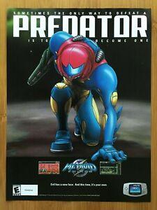 Metroid Fusion GBA 2002 Print Ad/Poster Original Official Samus Aran Promo Art