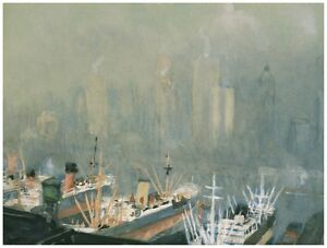 8927.Foggy view city and bay at sunrise.buildings POSTER.decor Home Office art