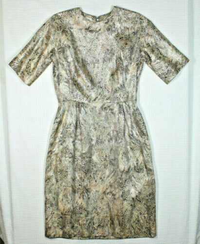 Vtg 60s Gold Wiggle Dress M L Brocade Sparkle Wove