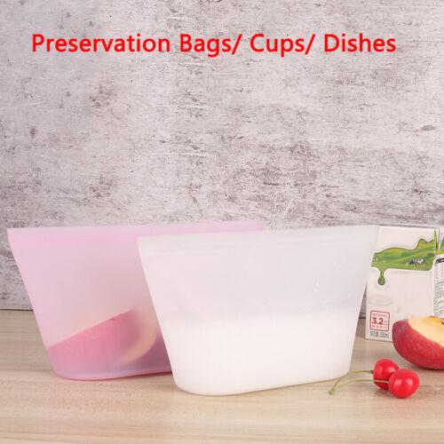 Leakproof Container Silicone Reusable Zipper Bag Food Storage Zip Top Frozen  VQ
