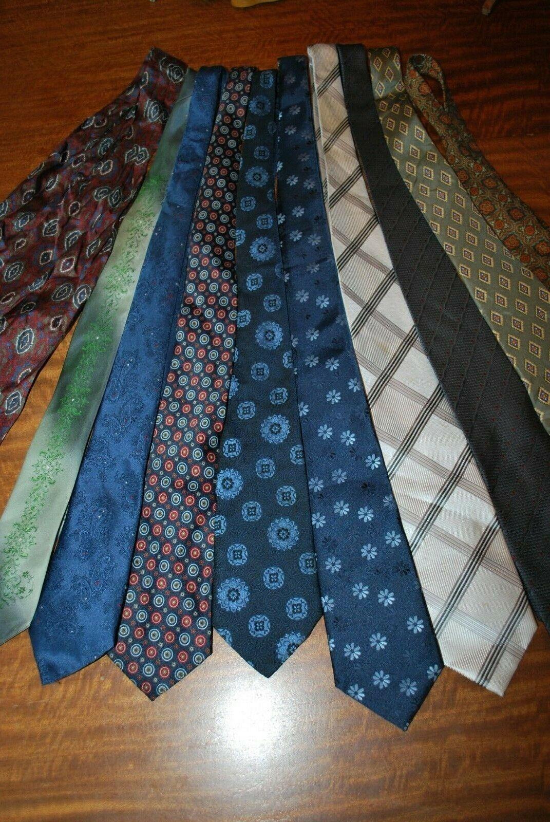 9 x various coloured patterned Tie's & 1 Cravat job lot bulk buy 16 vintage