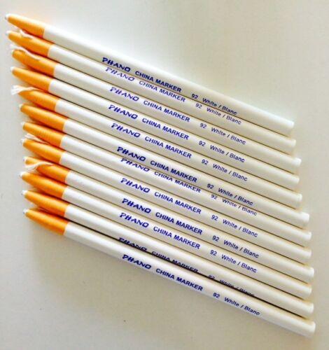 Box of 12 Dixon Phano China Markers WHITE PROFESSIONAL QUALITY