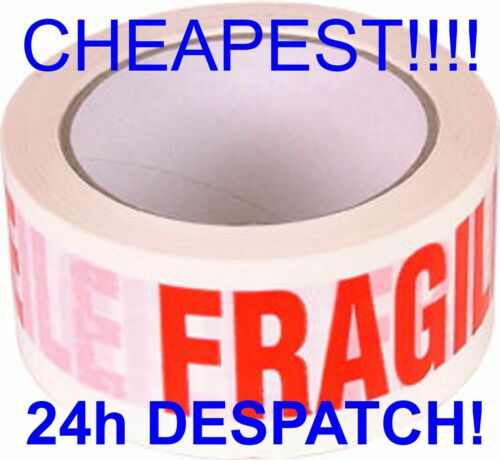 CHEAPEST 6 ROLLS FRAGILE PRINTED PACKAGING PARCEL TAPE 48mm x 66m 50mm