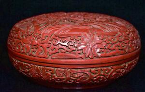 8-8-034-Qianlong-Marque-Chine-Qing-laque-rouge-Palace-Flower-Birds-Boite-a-bijoux