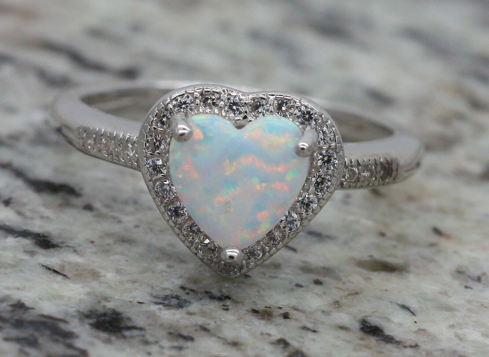 Bjc silver Sterling Fiery white Opale & Zircone Cœur Amour Bague size O