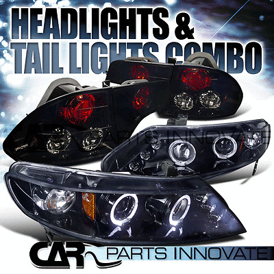 Glossy Black Fit 06-11 Civic 4Dr Halo LED Projector Headlights+Smoke Tail Lamps