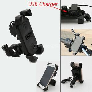 Motorcycle-Bike-ATV-Handlebar-Cell-Phone-GPS-Mirror-Mount-Holder-w-USB-Charger