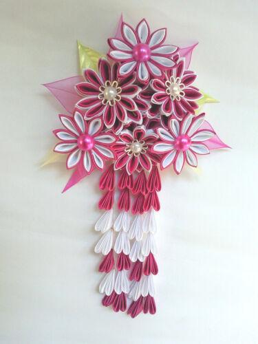 Kanzashi Tsumami Blumen Haarklammer  Satinblume Perlen Kopfschmuck Kanzashi*