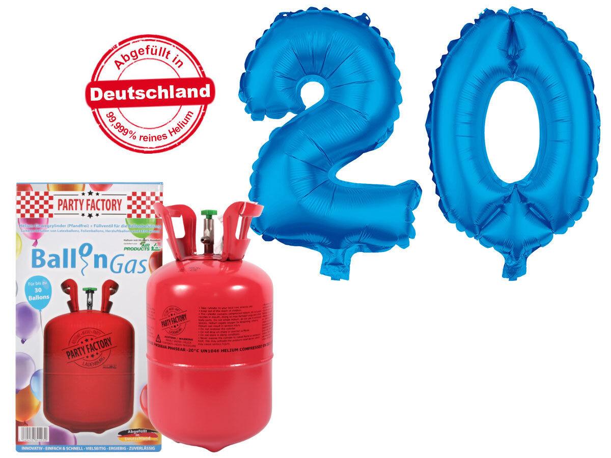 Ballongas Elio 0,25m³ 0,25m³ 0,25m³ Set con diapositive palloncino  20  BLU COMPLEANNO DECORAZIONE heliumgas 1f0126