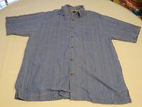 Tommy Bahama silk Men's short sleeve button up shirt M striped blue EUC@