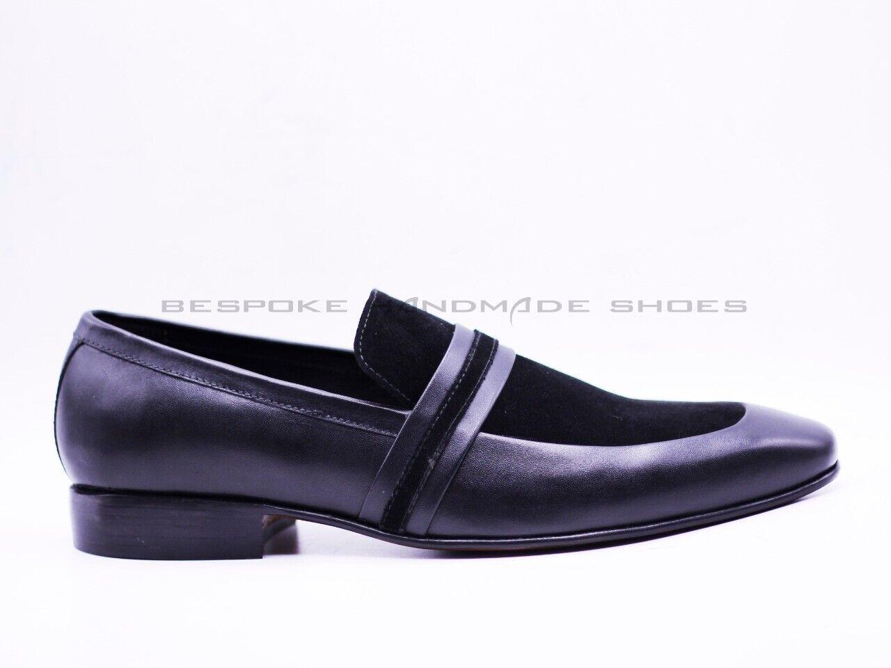 Hombre Cuero Genuino Negro Hecho a Mano & Terciopelo Mocasines Zapatos Formales & Slip Ons