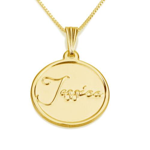 oNecklace ® 24k Gold Plated Stamp Engraved Necklace Engravable Medallion