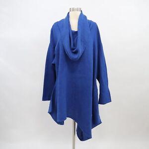 Bryn-Walker-Linen-Tunic-Top-Womens-L-Large-Royal-Blue-Lagenlook-Asymmetrical-Hem