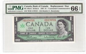 Canada-1-Dollar-Banknote-1967-BC-45bA-i-PMG-GEM-UNC-66-EPQ-Replacement-Star