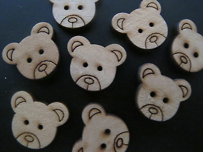 50 xCute Mini Teddy Bear Charms Buttons Beads Scrapbooking Cards Craft Wooden