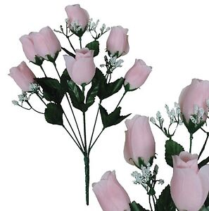 Lot-of-144-Soft-Pink-Poly-Silk-Closed-Roses-Wedding-Home-Decor-Craft-Flower-Leaf