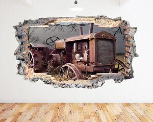 N459-Antigua-Granja-Tractor-Rust-campo-pegatina-pared-vinilo-3d-habitacion-ninos
