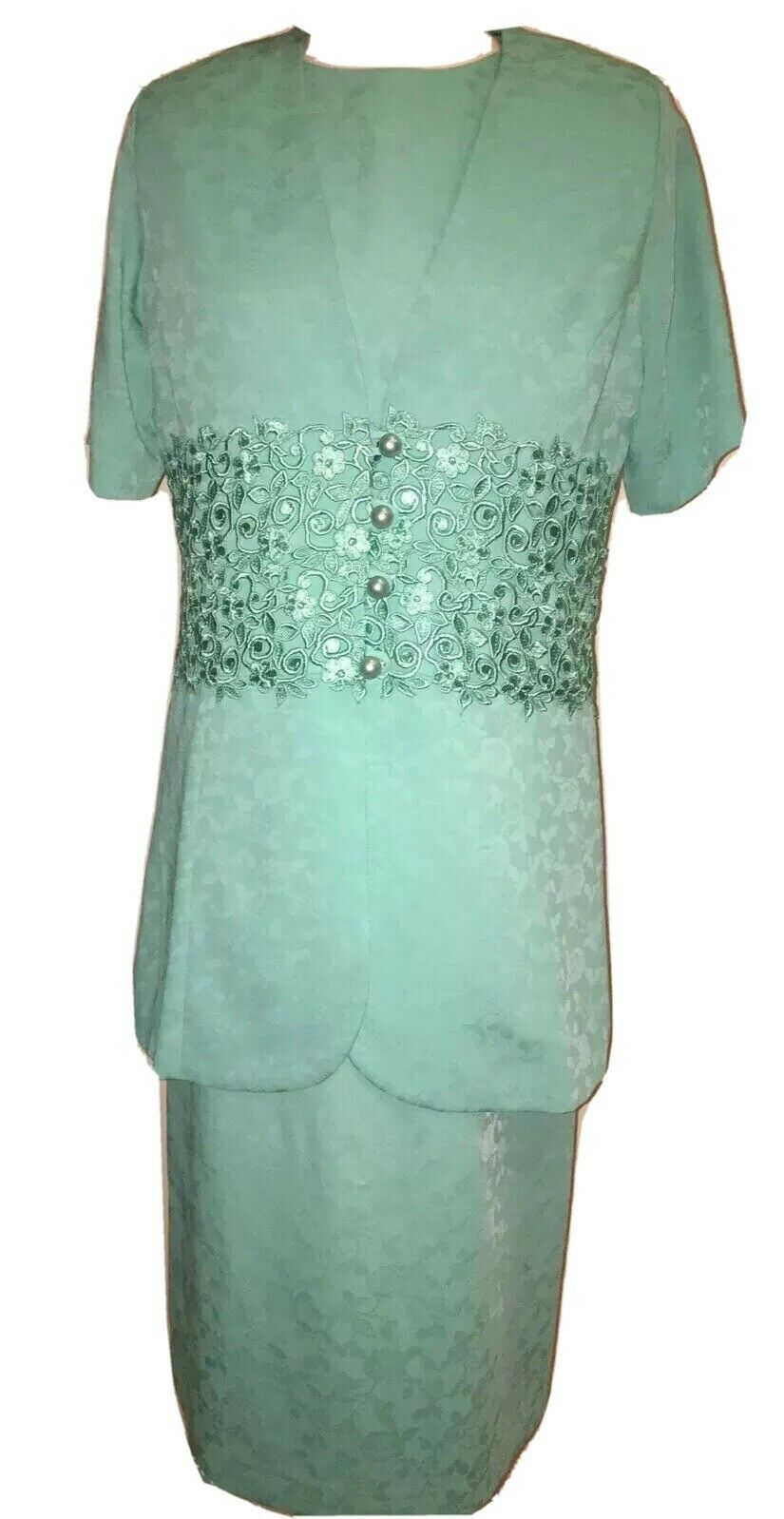 Gina Bacconi New Mint Green Dress Suit Size 10 UK Wedding Party special RRP