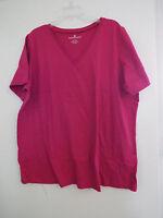 Women's Plus Perfect V Neck T Shirt In Bright Cherry Nip