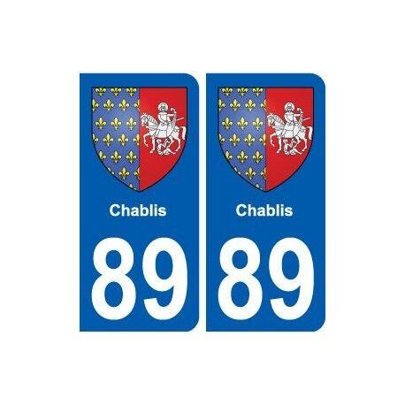89 Chablis blason autocollant plaque stickers ville arrondis