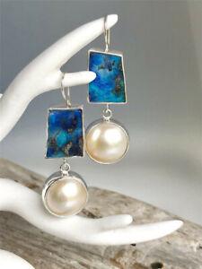925-Silver-White-Pearl-Earrings-Ear-Hook-Drop-Dangle-Fashion-Wedding-Jewelry