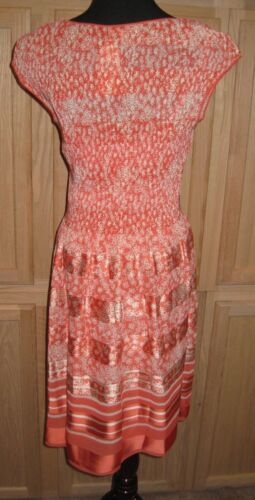 Sophie Max Studio 1B07F70 Coral//White Floral Engineered Pleat Silky Dress $118