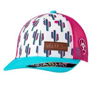 Ariat Kids Hat Youth Girl Baseball Cap Mesh Snap Cactus Multi-Color ... e9ffffb1991d