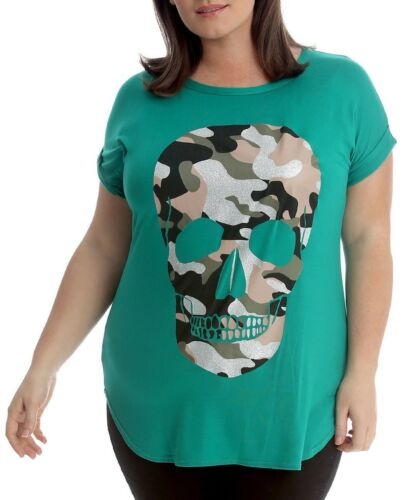 Plus Size Ladies Short Sleeve Womens Printed Camouflage Skull Casual T-Shirt Top