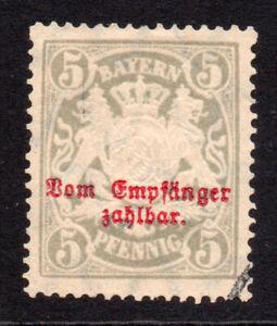 Bavaria (Germany) 5 Pfennig Postage Due Stamp c1876 Used (7483)