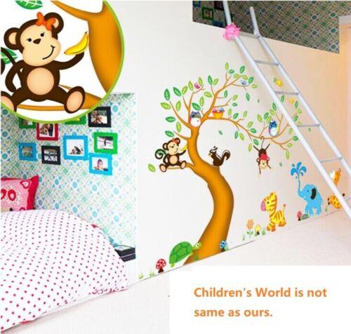 Wall Stickers Zoo Animal tree monkey squirrel zebra Art Decal children kid room