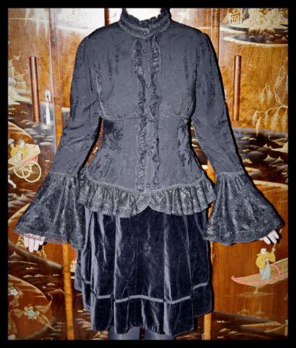 Lolita Corset Victorian 10 12 Camicia Lace Camicetta Punk Gothic Rave Black Uk PXw6v6