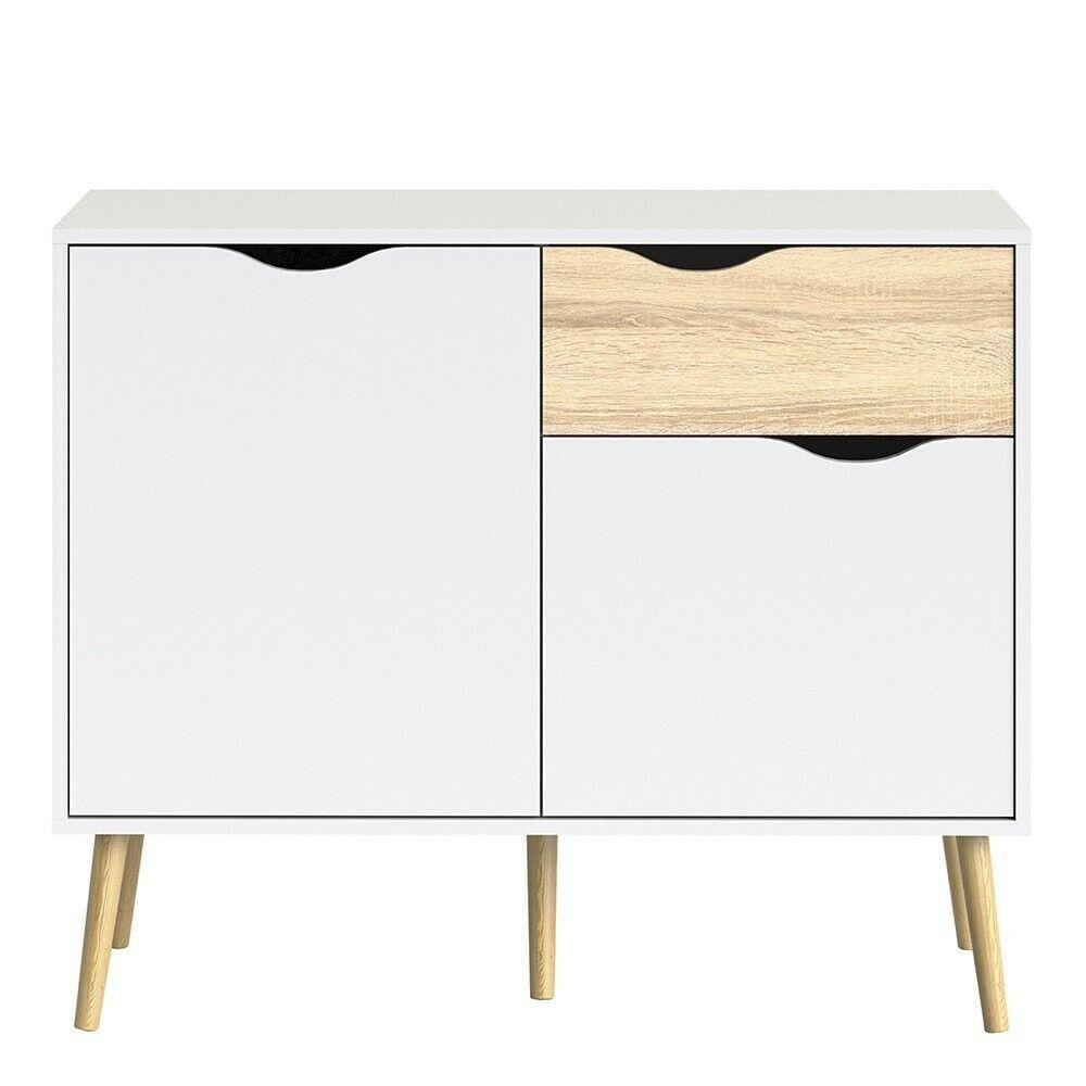 Oslo Modern Retro Style Sideboard Small 1 Drawer 2 Doors White Oak