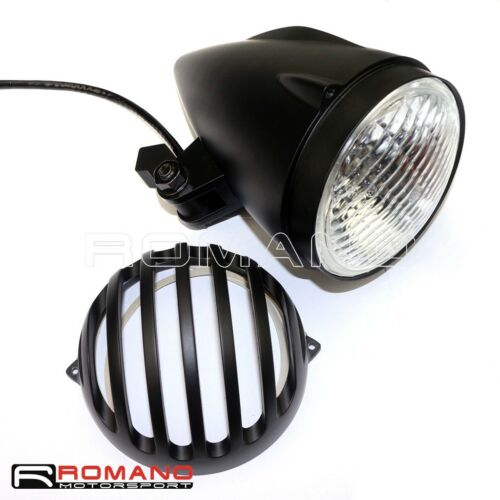 """Motorcycle Black 4.5/"""" Retro Headlight With Finned Grill Cover For Harley Bobber"""
