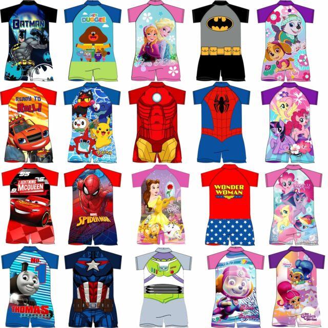 Kids Girls Disney One Piece My Little Pony Paw Patrol Sun Safe Swimsuit Swimwear 1-5yrs